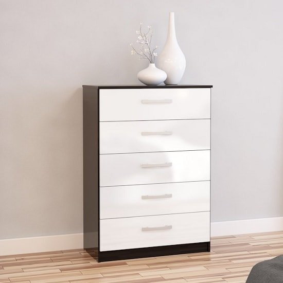 Carola Chest Of Drawers In Black White High Gloss And 5 Drawers