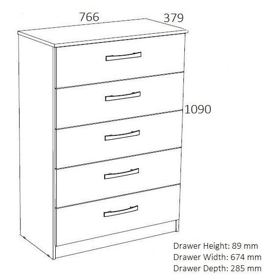 Carola Chest Of Drawers In White High Gloss With 5 Drawers_2