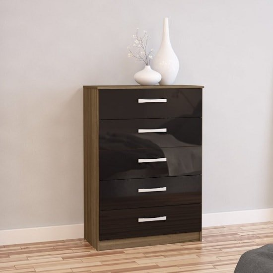 Carola Chest Of Drawers In Walnut Black High Gloss 5 Drawers