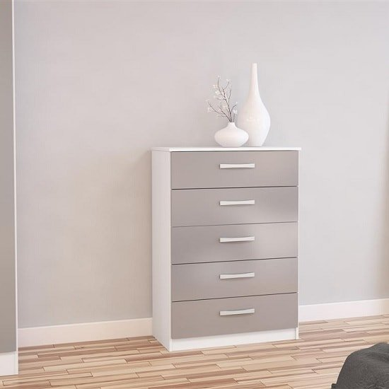 Product photograph showing Carola Chest Of Drawers In White Grey High Gloss With 5 Drawers
