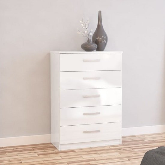 Carola Chest Of Drawers In White High Gloss With 5 Drawers_1