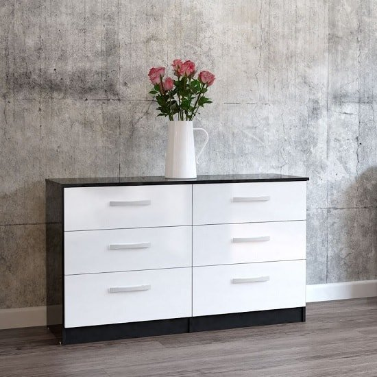 Product photograph showing Carola Chest Of Drawers In Black White High Gloss And 6 Drawers