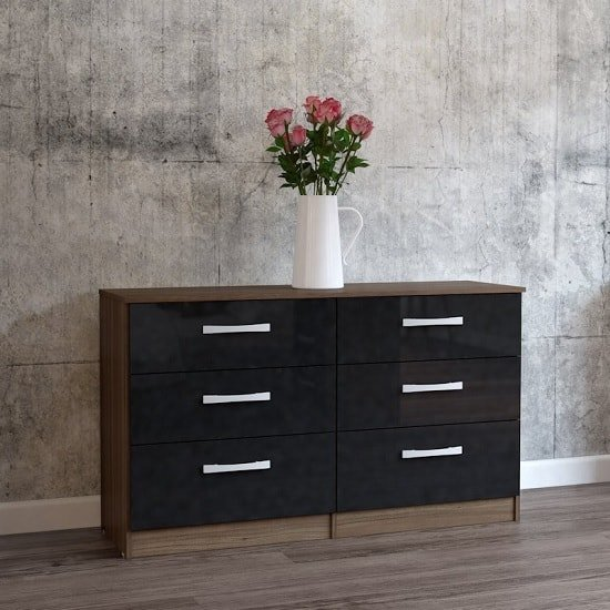 Carola Chest Of Drawers In Walnut Black High Gloss 6 Drawers