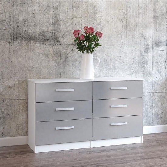 Carola Chest Of Drawers In White Grey High Gloss With 6 Drawers_1