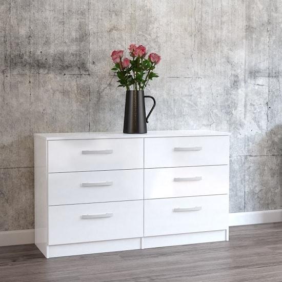 Product photograph showing Carola Chest Of Drawers In White High Gloss With 6 Drawers