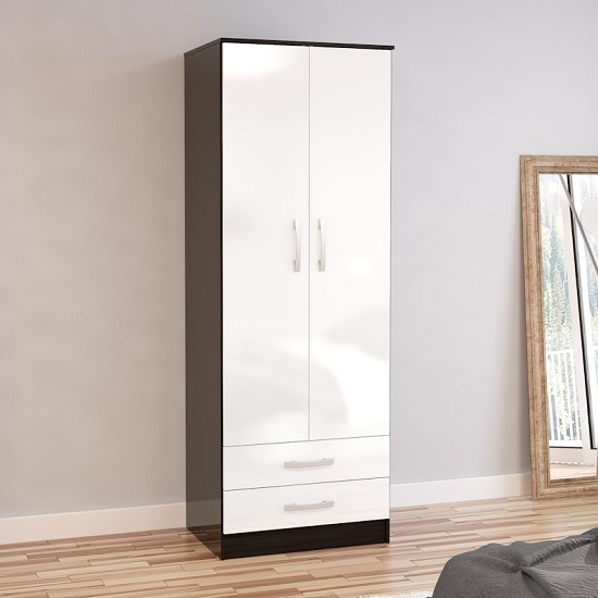 Product photograph showing Carola Combi Wardrobe In Black White High Gloss With 2 Doors