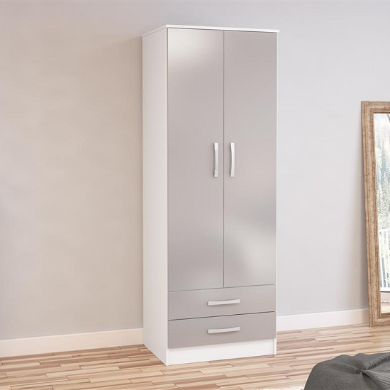 Carola Combi Wardrobe In White And Grey High Gloss With 2 Doors