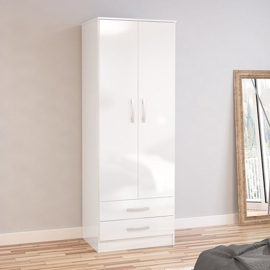 Carola Combi Wardrobe In White High Gloss With 2 Doors