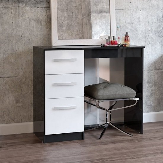 Carola Dressing Table In Black White High Gloss With 3 Drawers
