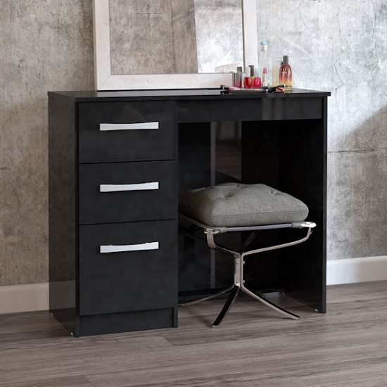 Product photograph showing Carola Dressing Table In Black High Gloss With 3 Drawers