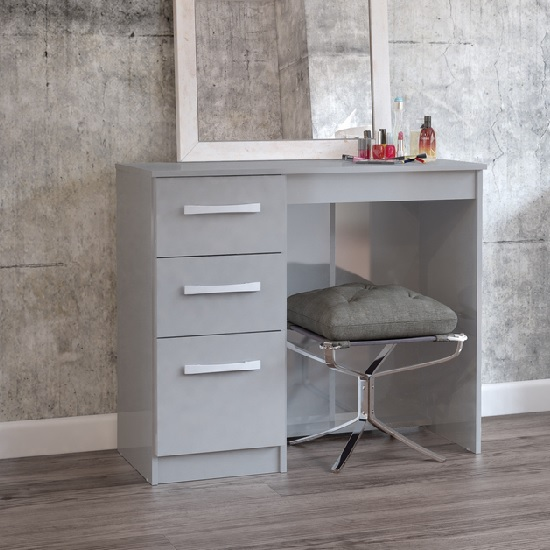 Carola Dressing Table In Grey High Gloss With 3 Drawers_1