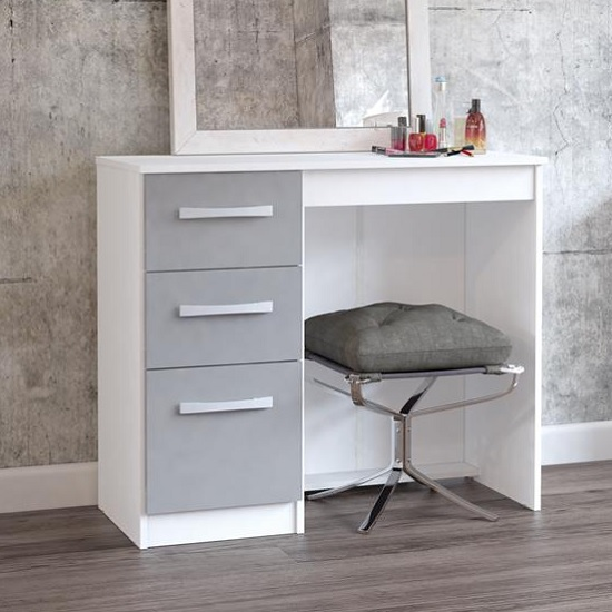 Product photograph showing Carola Dressing Table In White Grey High Gloss With 3 Drawers