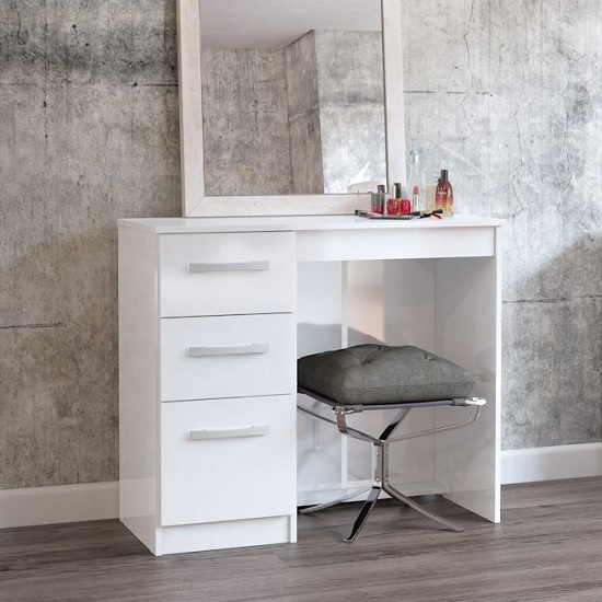 Carola Dressing Table In White High Gloss With 3 Drawers