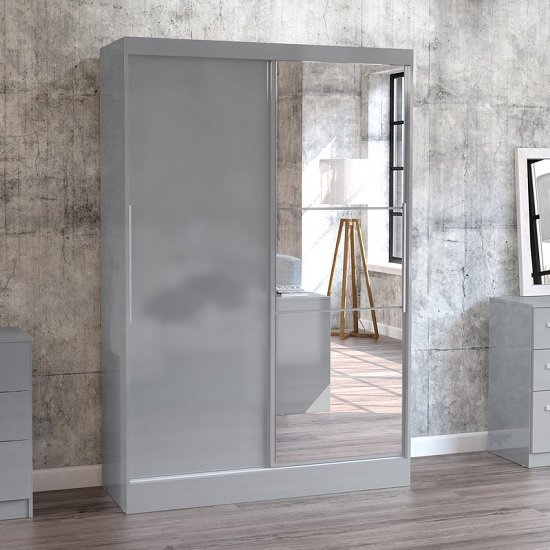 Carola Mirrored Sliding Wardrobe In Grey High Gloss With 2