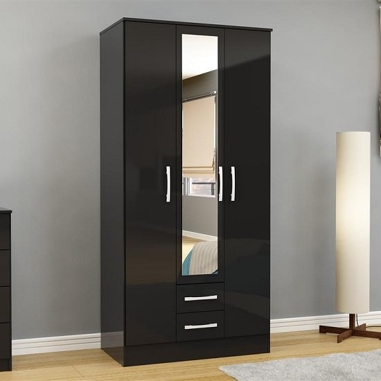 Carola Mirrored Wardrobe In Black High Gloss With 3 Doors_1