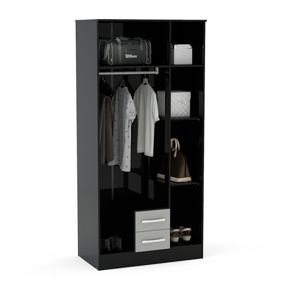Carola Mirrored Wardrobe In Black High Gloss With 3 Doors_2