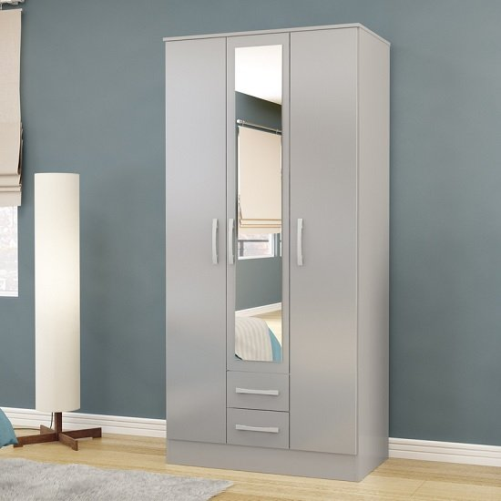 Carola Mirrored Wardrobe In Grey High Gloss With 3 Doors