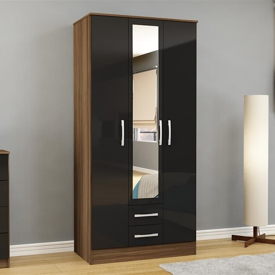 Product photograph showing Carola Mirrored Wardrobe In Walnut Black High Gloss And 3 Doors