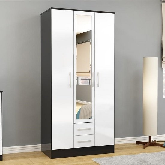 Product photograph showing Carola Mirrored Wardrobe In Black White High Gloss With 3 Doors