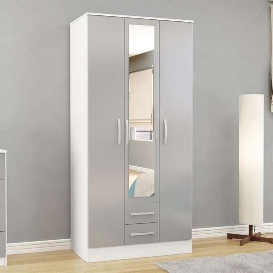 Carola Mirrored Wardrobe In White Grey High Gloss With 3 Doors
