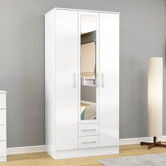 Carola Mirrored Wardrobe In White High Gloss With 3 Doors