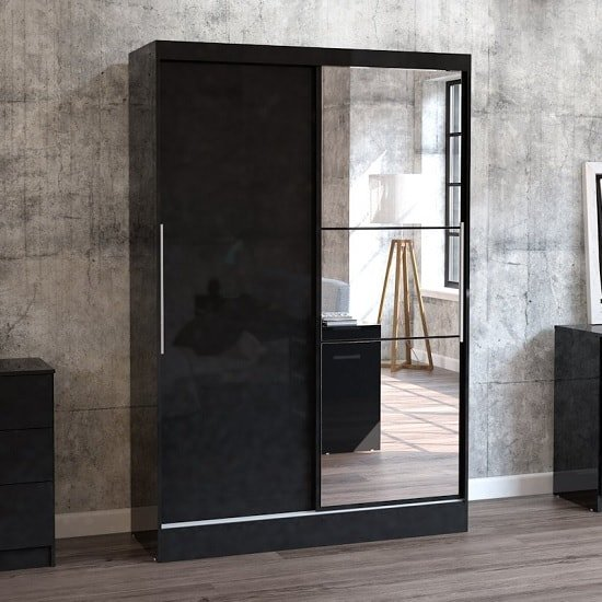 Product photograph showing Carola Mirrored Sliding Wardrobe In Black High Gloss