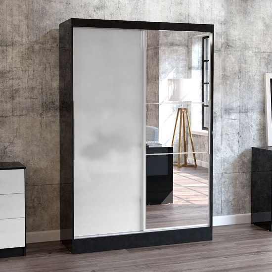 Product photograph showing Carola Mirrored Sliding Wardrobe In Black And White High Gloss