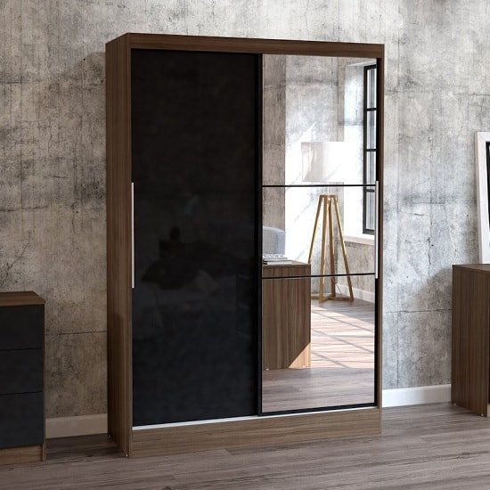 Product photograph showing Carola Mirrored Sliding Wardrobe In Walnut And Black High Gloss