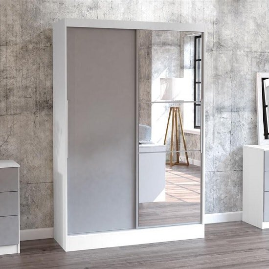 Product photograph showing Carola Mirrored Sliding Wardrobe In White And Grey High Gloss