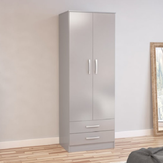 Carola Combi Wardrobe In Grey High Gloss With 2 Doors