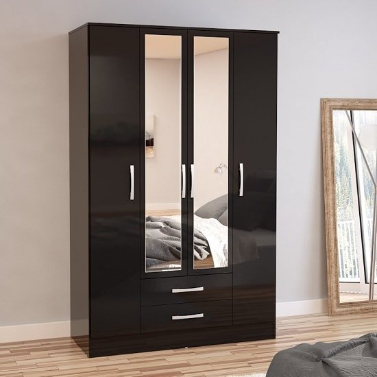 Carola Mirrored Wardrobe In Black High Gloss And 4 Doors