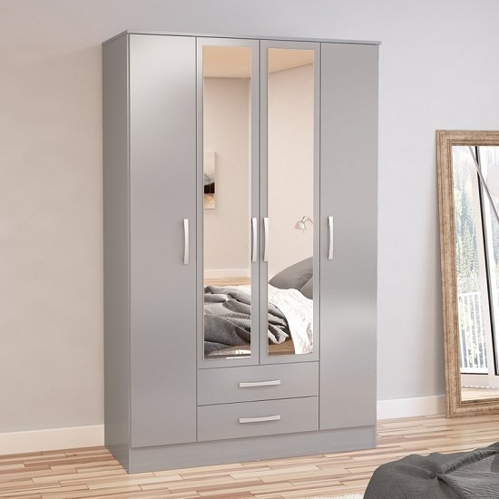 Carola Mirrored Wardrobe In Grey High Gloss With 4 Doors