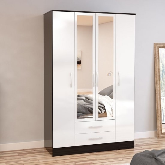 Carola 4 Doors Mirrored Wardrobe In Black And White High Gloss
