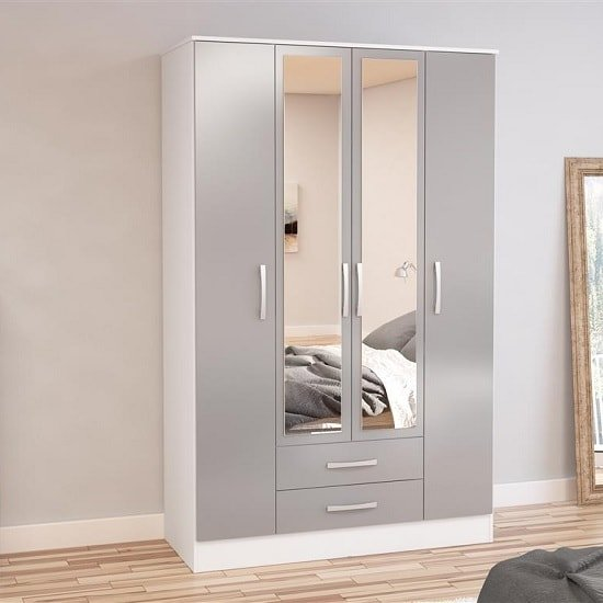 Product photograph showing Carola 4 Doors Mirrored Wardrobe In White And Grey High Gloss