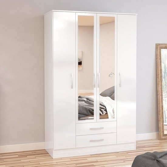 Product photograph showing Carola Mirrored Wardrobe In White High Gloss And 4 Doors