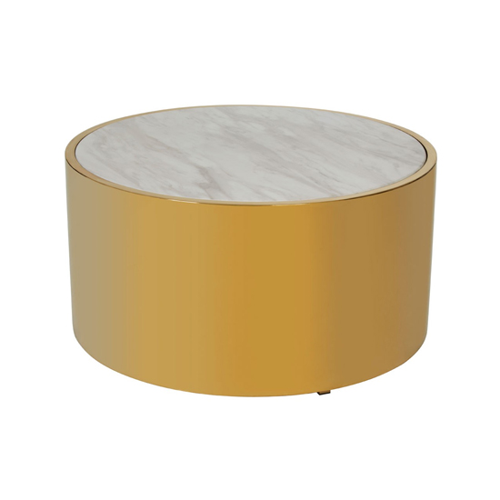 View Carolex round marble coffee table in white with gold metal base