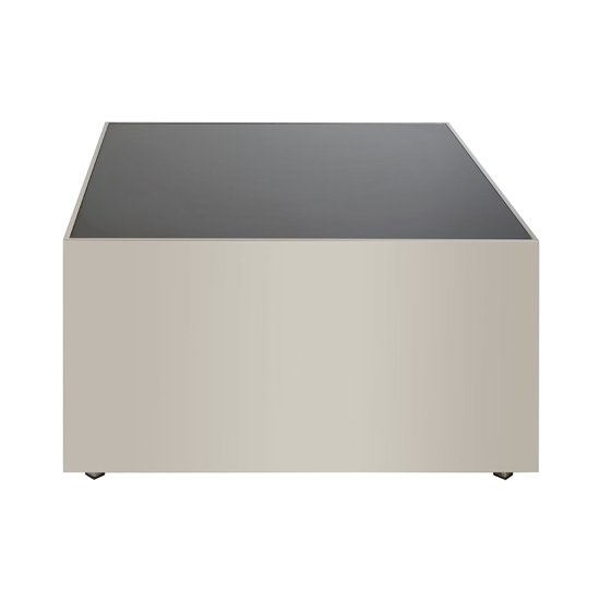 View Carolex square black glass coffee table with chrome base