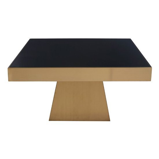 Carolex Square Black Glass Coffee Table With Gold Base