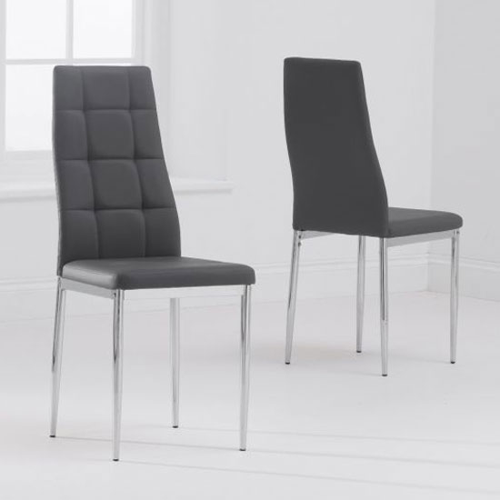 Carolina Grey PU Faux Leather Dining Chairs In A Pair