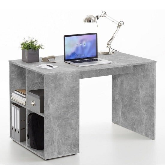Caroline Computer Desk In Concrete Effect With 4 Compartments