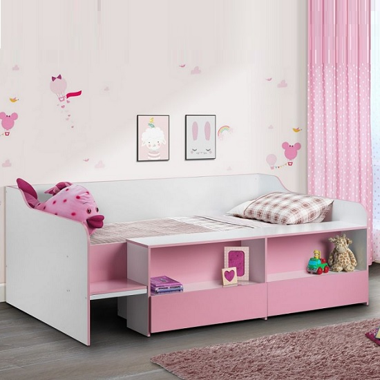 Carolyn Low Sleeper Children Bed In White And Pink