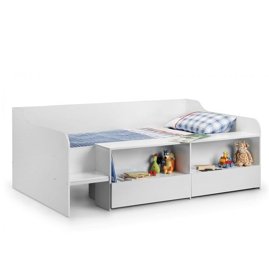 Carolyn Low Sleeper Children Bed In White With 2 Drawers_2