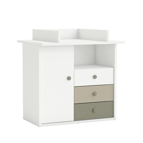 Carolyn Childrens Chest of Drawers In White Basalt And Grey