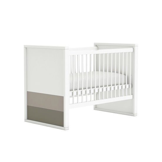 Carolyn Wooden Childrens Bed In White Basalt And Grey