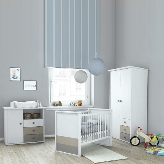 Carolyn Childrens Wardrobe In White Basalt And Grey With 2 Doors_2