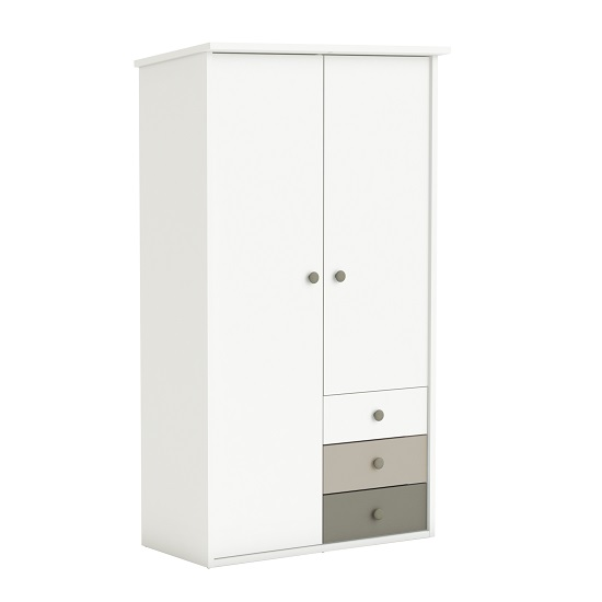Carolyn Childrens Wardrobe In White Basalt And Grey With 2 Doors_1