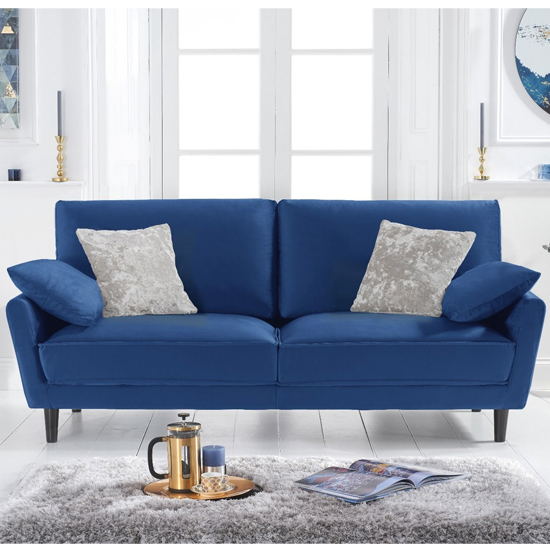 Caropy Velvet Upholstered 3 Seater Sofa In Blue