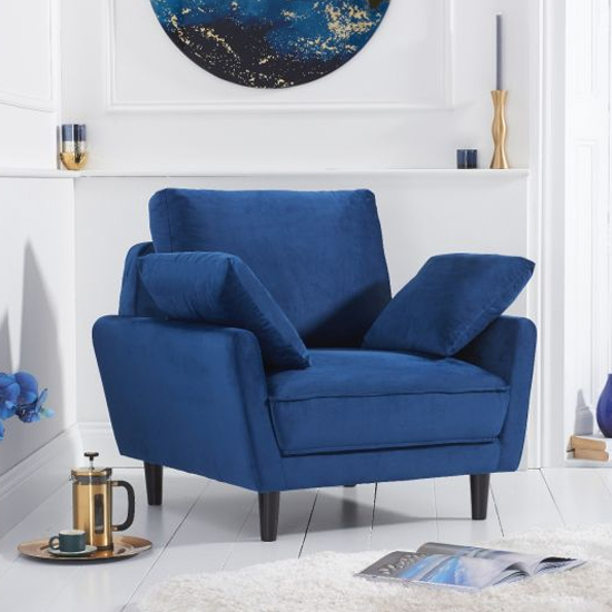 Caropy Velvet Upholstered Armchair In Blue