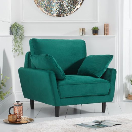 Caropy Velvet Upholstered Armchair In Green