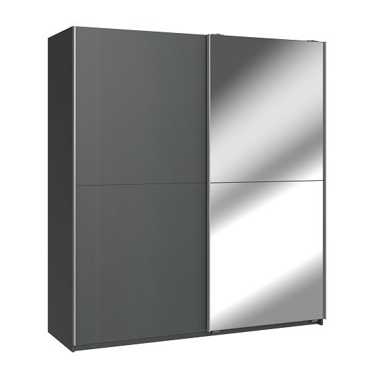 View Carra mirrored sliding wardrobe large in graphite with 2 doors